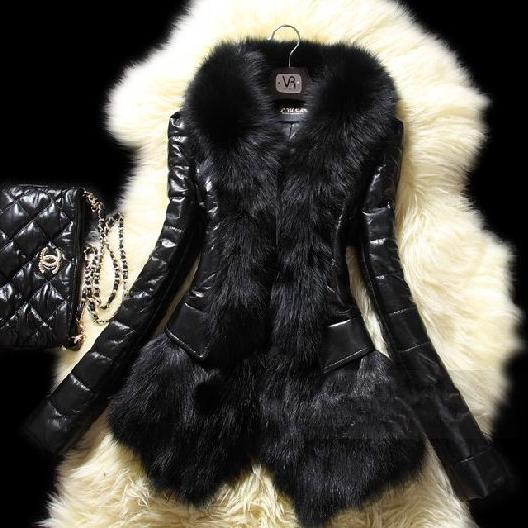 】新款仿狐狸毛毛领皮草棉衣外套女韩版显瘦短款绵羊皮PU拼接女装冬