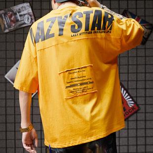 欧美潮牌嘻哈风oversize宽松五分袖T恤ins网红国潮流短袖蝙蝠衫男
