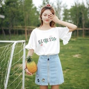 刺绣衣服女2019夏季短袖T恤女士上衣女装棉质田园淑女装