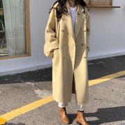 双面羊绒大衣女韩国东大门2018秋冬纯色长款双排扣羊毛呢外套