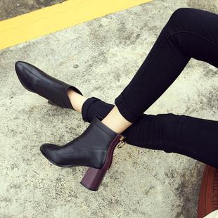 粗跟高跟短靴女2018秋冬季加绒女鞋真皮裸靴尖头短筒时尚马丁靴子