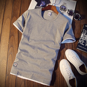 夏季男士短袖T恤圆领纯色体恤打底衫半袖上衣服潮男装薄