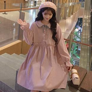 灯芯绒连衣裙长袖小清新娃娃领裙子秋季日系学生少女可爱裙子