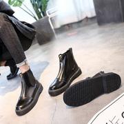 短靴女春秋2018时尚前拉链粗跟马丁靴女英伦风学生百搭机车靴