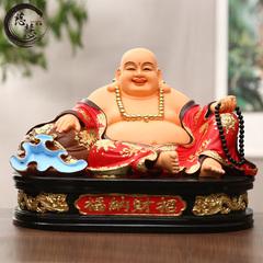 慈慧树脂佛像12寸开光弥勒佛 客厅大肚弥勒佛摆件 宽体彩绘笑佛