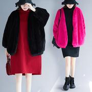 胖妹妹冬装仿皮草毛毛衫女200斤胖MM宽松加厚加肥加大码外套