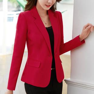 秋季显瘦短款白色长袖通勤正装大红色上衣小西装女外套