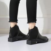 加绒瘦瘦靴网红粗跟短靴女2018秋冬季马丁靴学生裸靴女鞋