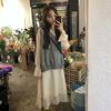 秋季气质喇叭袖蕾丝拼接v领中长款连衣裙女+针织马甲外搭
