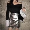 秋季女套装港味宽松V领长袖卫衣高腰亮面皮短裙半身裙时尚两件套