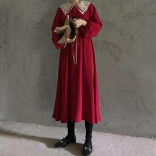 秋装chic韩国复古法式蕾丝翻领高腰连衣裙女宽松显瘦中长裙