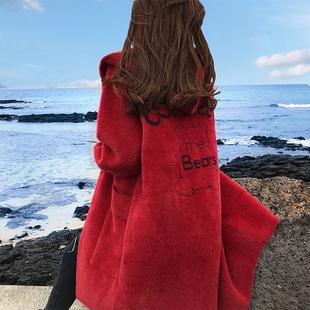 中长款加厚毛绒外套女2018秋装宽松秋冬季红色毛绒大衣女冬
