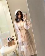秋装蕾丝泡泡袖中长连衣裙蓬蓬裙仙气复古长袖打底裙两件套女