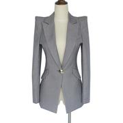灰色时尚小西装外套女春秋装中长款2019耸肩显瘦西服