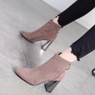 高跟马丁靴女2018秋冬季时尚绒面百搭方头粗跟短靴女加绒棉鞋