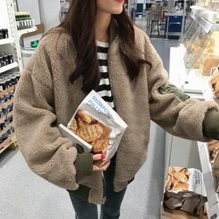 2018秋冬两面穿加厚羊羔毛外套宽松短款棉服长袖夹克外套女