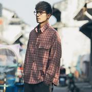 劳尔秋季条纹衬衫男士宽松修加厚子复古潮纯棉工装外套