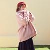 爱蔷薇翻领粉色中长款加厚加棉秋冬天宽松 圈圈羊羔毛外套女