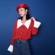 2018早秋衬衣女红色波点娃娃领衬衫长袖宽松雪纺法式复古上衣