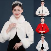 婚纱披肩外套秋冬季长袖保暖小皮草白新娘毛披肩结婚礼服旗袍外搭
