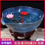 送6 景德镇陶瓷器摆件金鱼缸 睡莲碗莲缸花盆乌龟缸养鱼盆