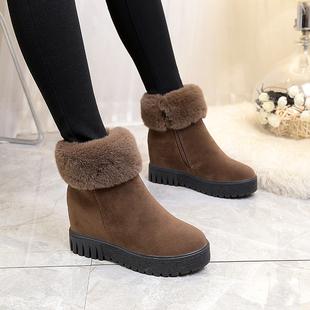 2018冬厚底中跟女鞋短靴百搭女靴子保暖棉靴雪地靴中筒靴