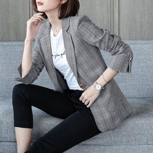 2019春装长袖小西装女外套显瘦女士中长款OL格子西服