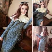 2018秋冬女装气质高领拼接长袖包臀毛衣针织裙连衣裙