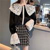 2018秋冬季大翻领衬衣蕾丝拼接丝绒打底长袖衬衫上衣女装