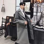 冬季设计师款西装领英伦呢子风衣潮牌男装中长款毛呢大衣外套