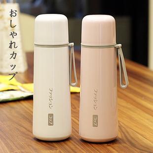 日式简约保温杯男女学生大容量便携不锈钢水杯子创意情侣刻字茶杯