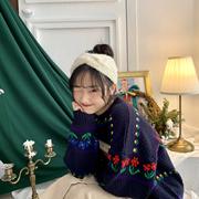 YUKI小树家 自留古着日系小花朵圆领针织毛衣女秋冬 m1274