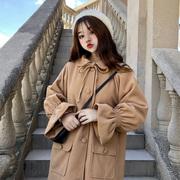 外套女秋装2018日系宽松系带中长款大衣木耳边上衣长袖潮