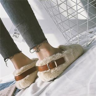 单鞋女2018秋季网红平底棉鞋冬外穿一脚蹬豆豆瓢鞋白色毛毛鞋
