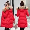 冬季大毛领棉衣女中长款加厚大码羽绒棉服棉袄外套潮