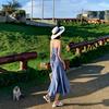 2018女夏度假吊带裙长裙沙滩裙海边显瘦格子连衣裙鱼尾裙