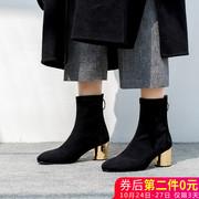 阿么弹力袜靴瘦瘦靴高跟靴子女粗跟时尚女鞋圆头2018秋冬短靴