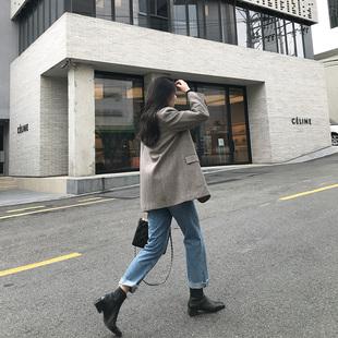 MSstudio 2019春季宽松复古羊毛呢西装外套中长款女