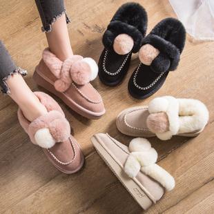 兔毛毛球雪地靴女真皮豆豆鞋平底毛毛鞋秋冬加绒松糕厚底棉鞋