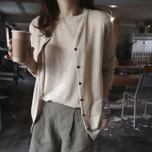 M37韩国女装代2018麻棉春秋长袖两件套针织开衫薄外套通勤