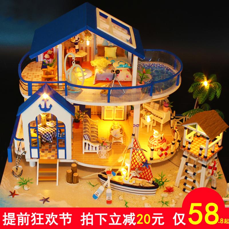 还没做完是给别人的生日礼物,拼完很好看,但是真的很值得__弘达diy小屋大型手工制作房子拼装模型别墅创意礼物女孩玩具艺术