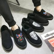 棉鞋男冬季保暖加绒加厚一脚蹬学生百搭懒人鞋豆豆男鞋子