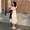 秋冬女装仙女气质长袖雪纺连衣裙宽松显瘦打底裙过膝长裙