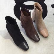复古拼色方头 磨砂绒面 质感赞 粗跟女靴中筒靴 大码