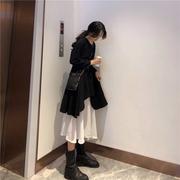 长袖连衣裙女秋装2018chic早秋裙子港味复古黑白拼接长裙