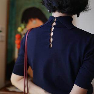 ching's复古气质高领后背镂空五分袖针织衫女打底仿冰丝上衣