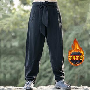 冬季中国风男装裤子棉麻长裤男士加绒大码宽松哈伦亚麻灯笼裤