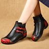 春秋单靴民族风女鞋平底短靴女真皮靴子软底平跟舒适冬鞋妈妈棉鞋