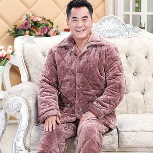 中老年睡衣男冬季法兰绒三层加厚珊瑚绒夹棉保暖男爸爸家居服套装