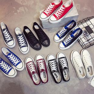 纯色低帮帆布鞋潮男学生平底系带球鞋子经典透气百搭板鞋